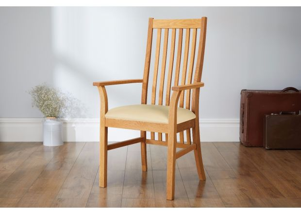 Lichfield Cream Leather Carver Oak Dining Chair - SUMMER SALE
