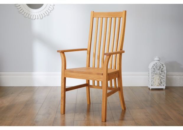 Lichfield Solid Oak Carver Dining Chair - GET 10% OFF WITH CODE SAVE