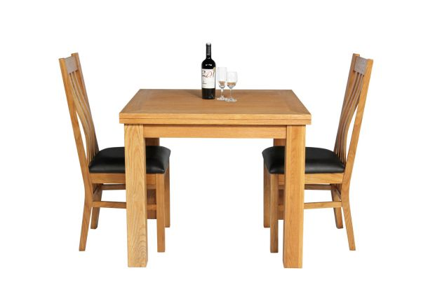 Lichfield 90cm to 180cm Flip Top Extending Table 2 Chelsea Brown Leather Chairs Set - WINTER SALE