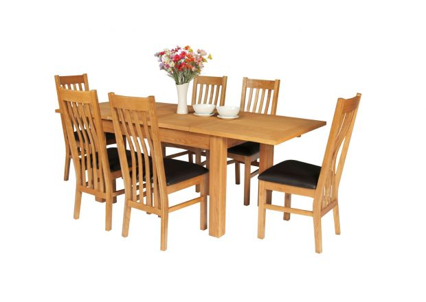 Lichfield Double Extending 210cm Oak Table 6 Chelsea Brown Leather Chairs - SUMMER SALE