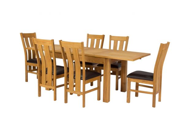 Lichfield 210cm Double Extending Table 6 Churchill Brown Leather Chair Set