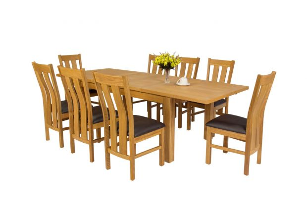 Lichfield 240cm Double Extending Table 8 Churchill Brown Leather Chair Set
