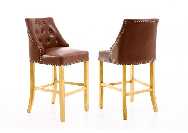 Mayfair Tan Brown Leather Studded Dining Chair
