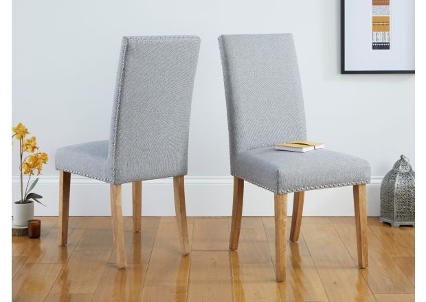 Mayfair Silver Grey Fabric Studded Oak Dining Chairs