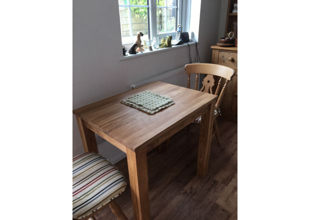 Small EU Made Solid Oak Dining Table Minsk 80cm x 60cm 2 Seater