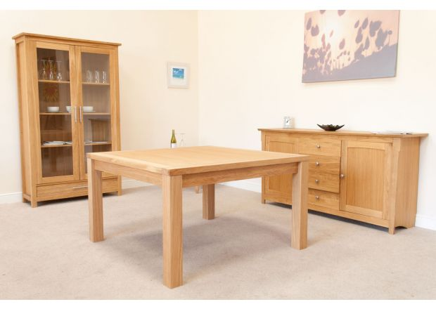 Minsk 130cm Large EU Made Square Oak Dining Table Seating 8 - SUMMER SALE