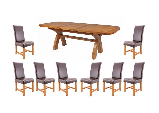 Country Oak 230cm Cross Leg Oval and 8 Titan Brown Leather Chairs