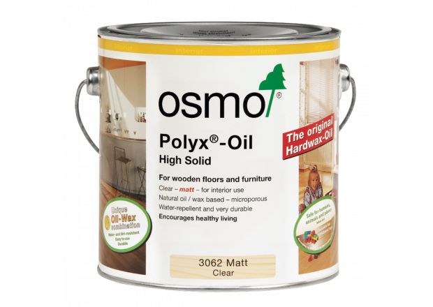 Osmo Polyx Hardwax Oil Original 3062 Clear Matt, 2.5 Litres - Free Delivery