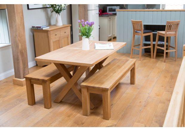 Provence 150cm Oak Table and pair of 120cm Baltic Solid Top Benches