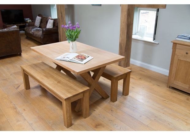 Provence 150cm Oak Table and pair of 150cm Baltic Solid Top Benches