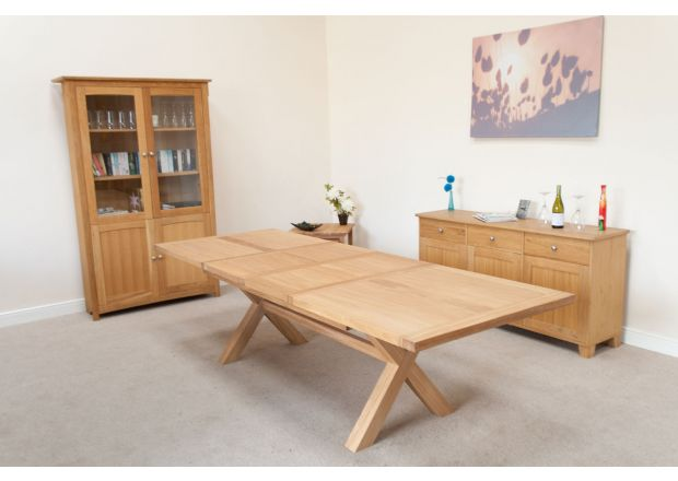 Provence 2.8m Double Extending EU Made Cross Leg Oak Table - AUTUMN SALE