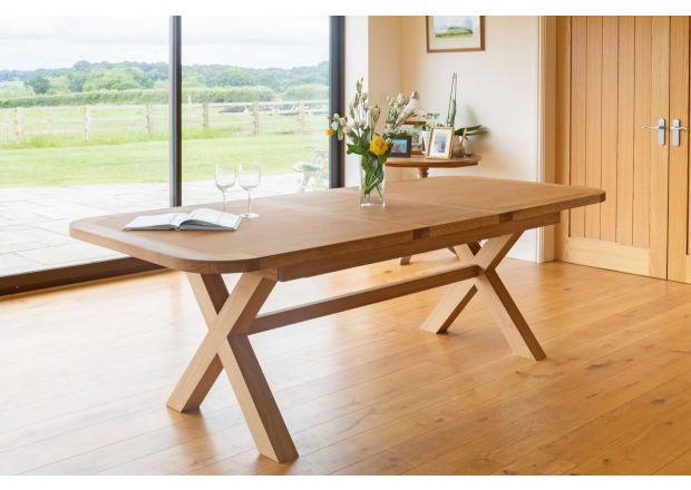 Provence 2.3m Cross Leg EU Made Extending Oak Table Oval Corners