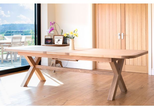 Provence 290cm Cross Leg Extending EU Made Oak Dining Table Oval Corners - SUMMER SALE