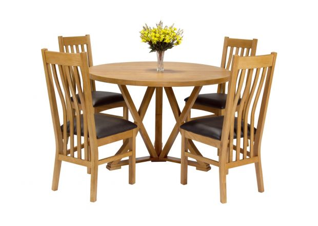 Country Oak 120cm Round Dining Table 4 Chelsea Brown Leather Oak Chair Set