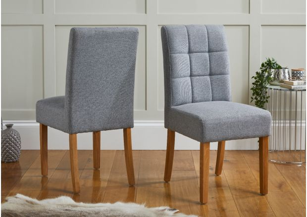 Sudbury Silver Grey Fabric Oak Dining Chairs