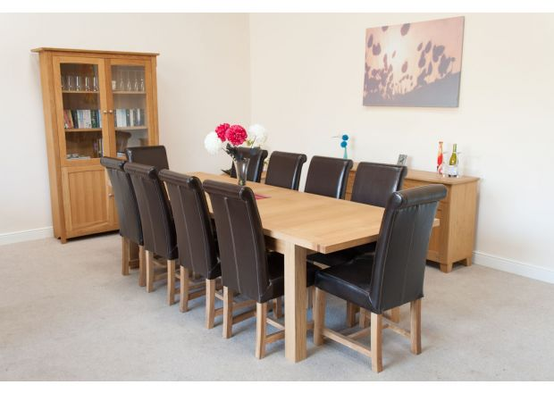 Tallinn 2.9m Extending Oak Table and 10 Titan Brown Leather Chairs Set