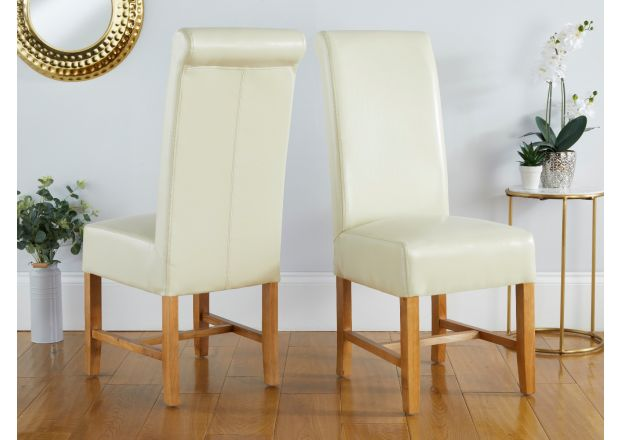 Titan Cream Leather Dining Chair oak legs