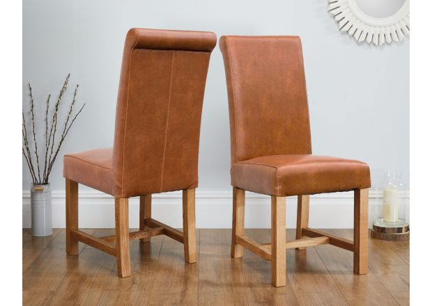Titan Scroll Back Tan Brown Leather Dining Chair - AUTUMN SALE