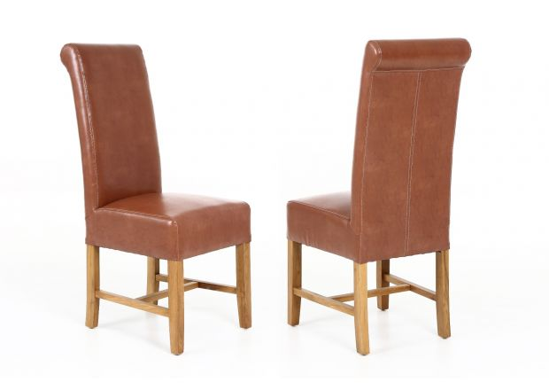 Titan Scroll Back Tan Brown Leather Dining Chair