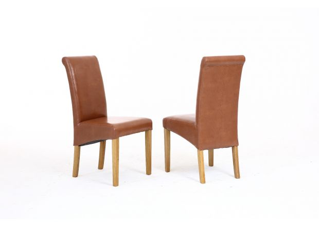 Tuscan Mocha Brown Leather Dining Chair - AUTUMN SALE