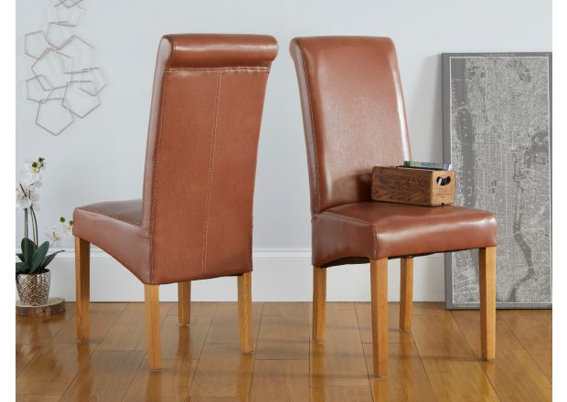 Tuscan Mocha Brown Leather Dining Chair