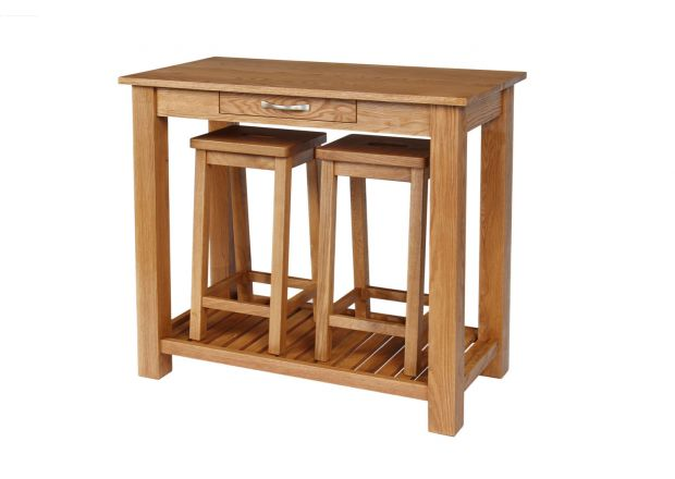 Tutbury Oak Breakfast Console Table 2 Refectory Oak Stools - WINTER SALE