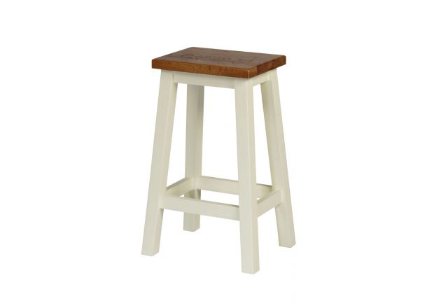 Tutbury Cream Painted Oak Kitchen Bar Stool - WINTER SALE