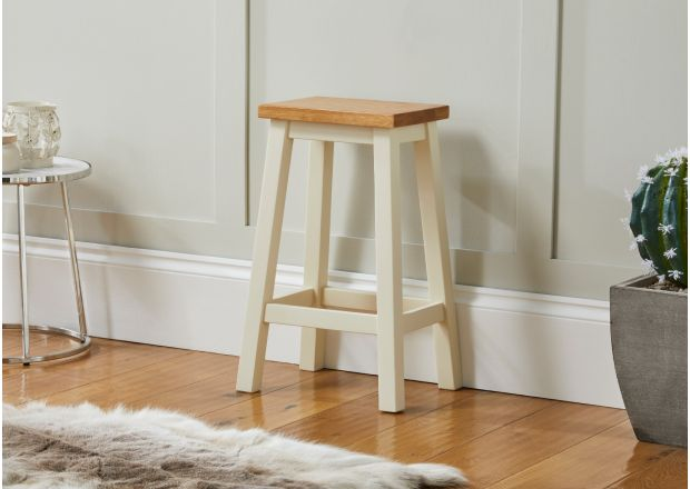 Tutbury Cream Painted Oak Kitchen Bar Stool - SUMMER SALE