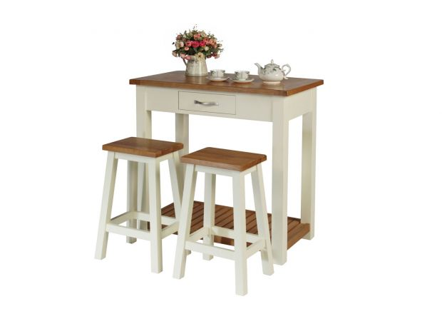 Tutbury Cream Painted Oak Breakfast Table Kitchen Stool Set - WINTER SALE