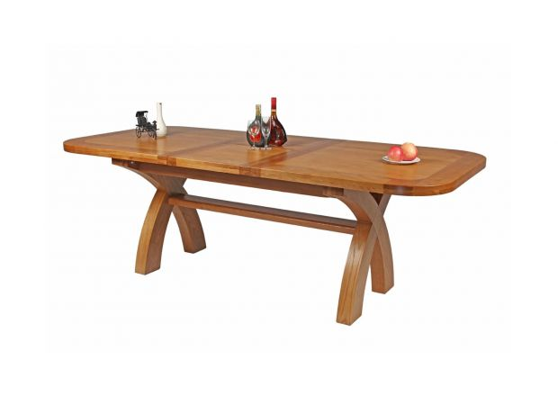 Country Oak 2.3m Cross Leg Extending Dining Table Oval Corners - 10% OFF WITH CODE SAVE