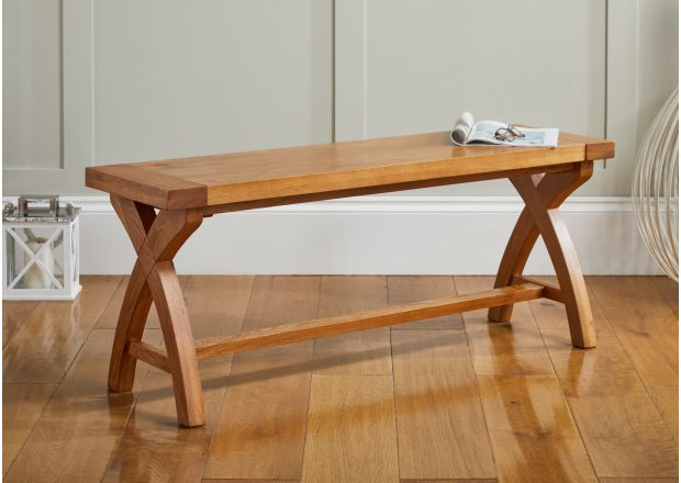 Country Oak 1.2m Solid Oak Dining Bench - Cross Leg design