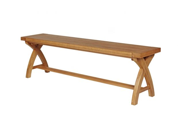 Country Oak 160cm Solid Oak Cross Leg Bench - BLACK TAG SALE