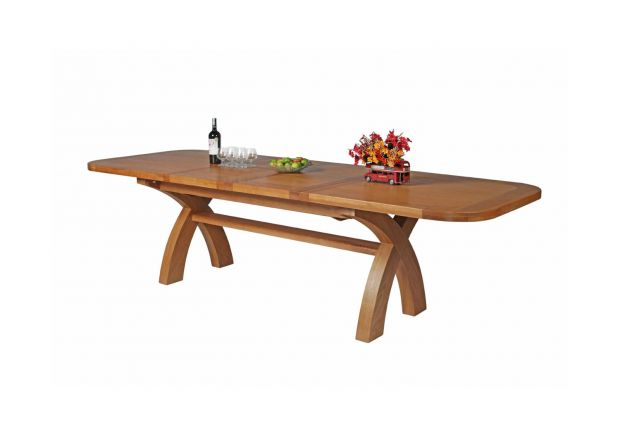 Country Oak 2.8m X Leg Double Extending Large Table Oval Corners - WINTER SALE