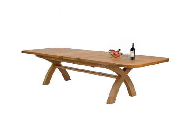 Country Oak 3.4m Large Double Extending Dining Table X Leg Oval Corners - 10% OFF WITH CODE SAVE