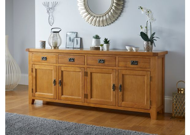 Large Country Oak 4 Door 200cm Sideboard