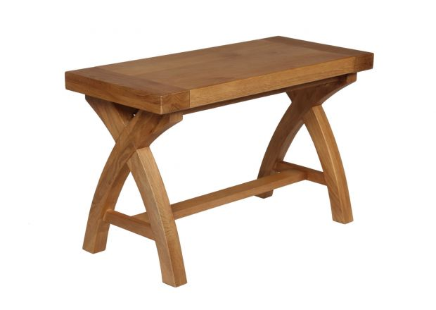 80cm Small Country Oak Cross Leg Indoor Bench - AUTUMN SALE