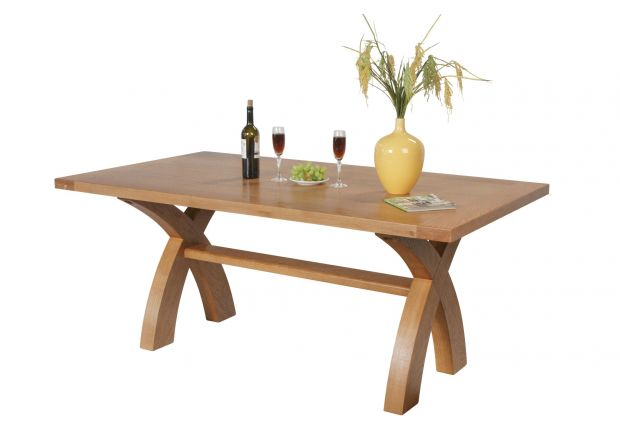 Country Oak 180cm Cross Leg Dining Table