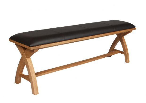 Country Oak 160cm Cross Leg Dark Brown Leather Bench