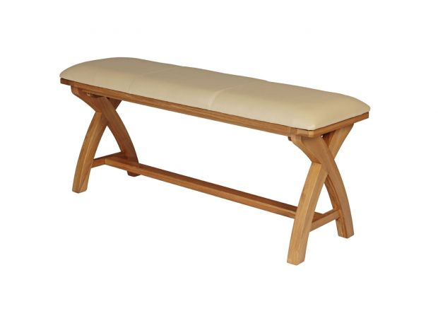 Cream Leather Country Oak Cross Leg Oak Bench 120cm
