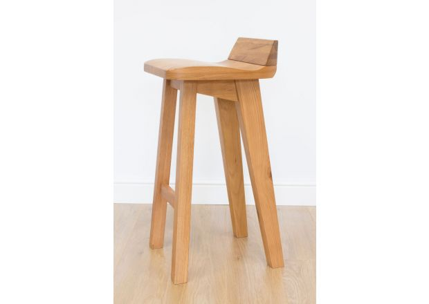 Wave Contemporary Solid Oak Bar Stool - WINTER SALE