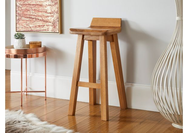 Wave Contemporary Solid Oak Bar Stool