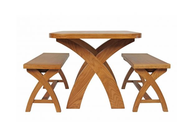 Country Oak 140cm X Leg Oval Table and 2 1.2m X Leg Country Oak Benches - SUMMER SALE