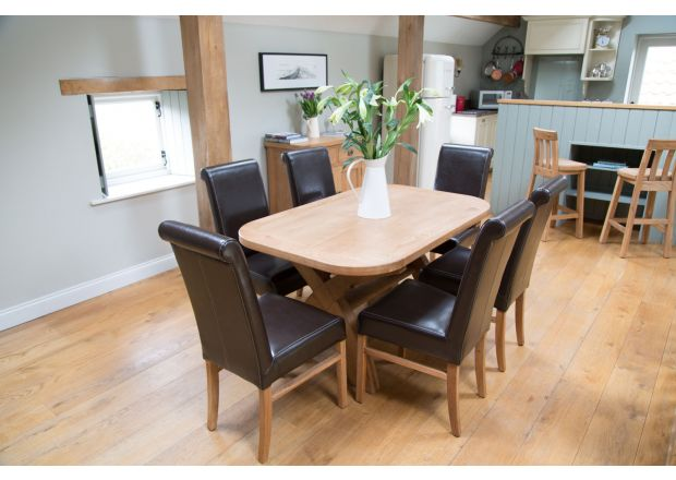 Country Oak 140cm Cross Leg Oval Table 6 Emperor Brown Leather Chairs - AUTUMN SALE