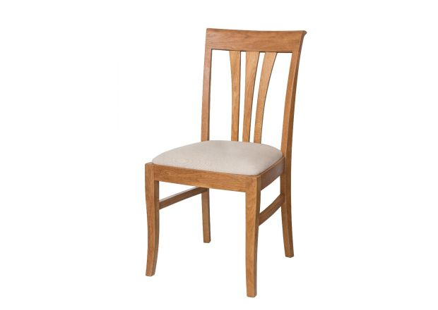 Victoria Solid Oak Dining Chair with Beige Linen Fabric pads - AUTUMN SALE