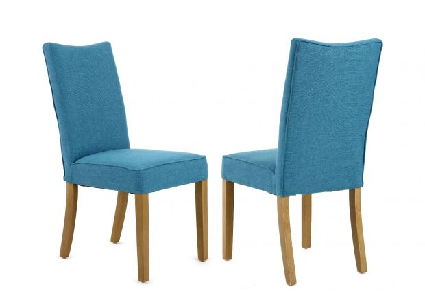 Windsor Teal Fabric Dining Chair with Oak Legs
