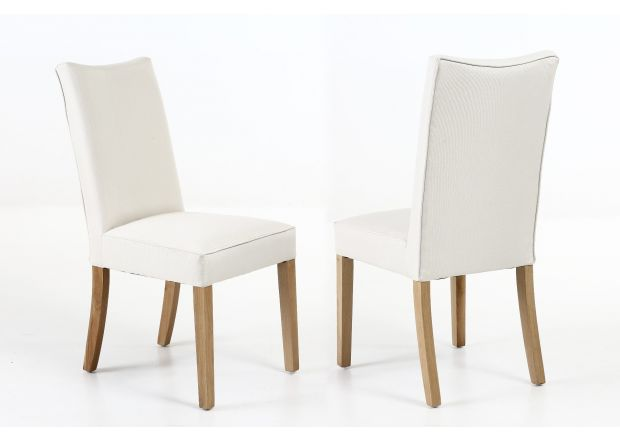 Windsor Beige Fabric Dining Chair with Oak Legs