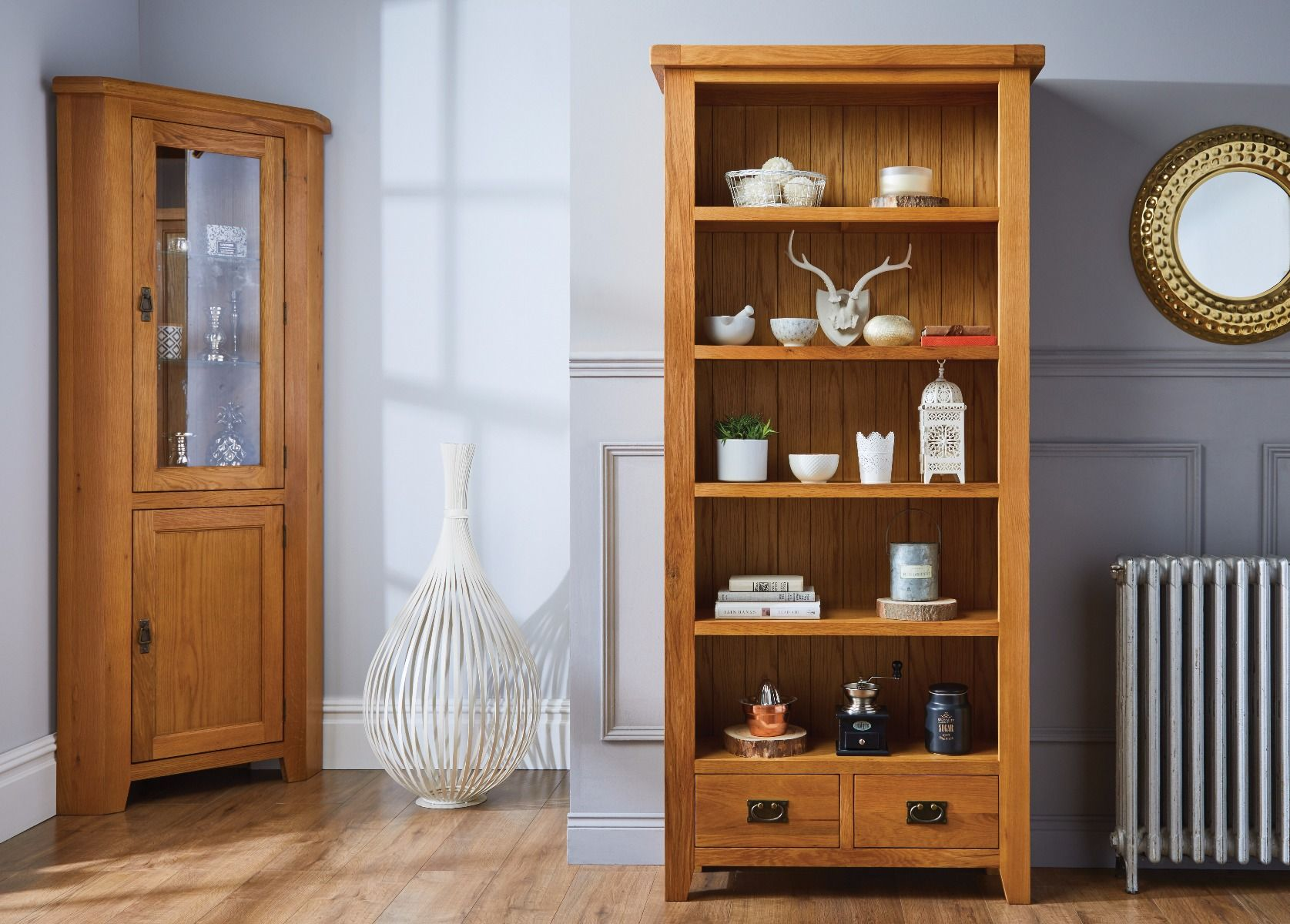Country Oak Tall Bookcase With Drawers