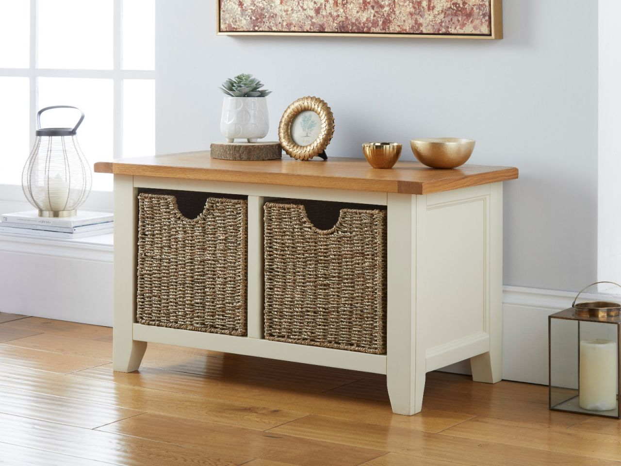 Cream Painted Oak Hallway Shoe Storage Bench With 2 Baskets Free Delivery Top Furniture