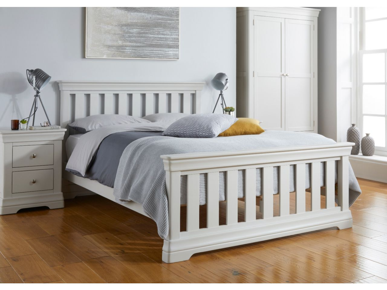 Toulouse Grey Painted 5 Foot Slatted King Size Bed Free Fast Delivery Top Furniture