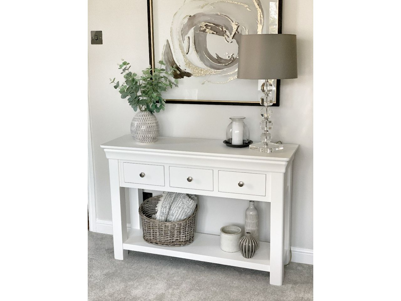 Picture of: Toulouse White Painted Large 3 Drawer Console Table Fully Assembled